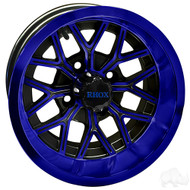 RHOX RX283 12x7 Golf Cart Wheel, Black with Blue