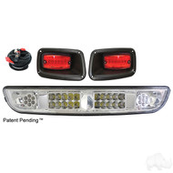 Golf Cart Light Bar Kit, Clear Lens, LED Bulbs for EZGO TXT 94-13