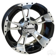 Golf Cart Wheel, 12x6 Machined with Black RX200, No Offset
