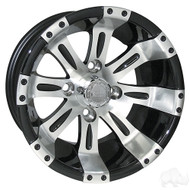 Golf Cart Wheel, 12x6 Centered, Machined with Black RX171