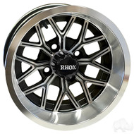 RX284 12x6 Offset Golf Cart Wheel, Machined Gloss Black