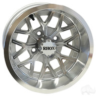 RX284 12x6 Offset Golf Cart Wheel, Machined with Silver