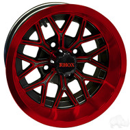 RX284 12x6 Offset Golf Cart Wheel, Gloss Black with Red