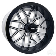 RX284 12x6 Offset Golf Cart Wheel, White with Gloss Black