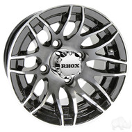 Golf Cart Wheel, 10x7 Machined Black RX175