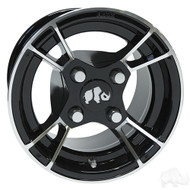 Golf Cart Wheel, 10x7 Machined Black RX176