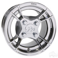 Golf Cart Wheel, 10x7 Chrome RX176