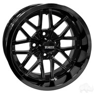 14x7 Gloss Black Offset Golf Cart Wheel RX281 (TIR-RX281-B)