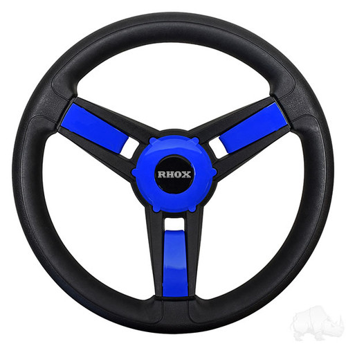 Blue/Black Golf Cart Steering Wheel with Adapter, Club Car Precedent