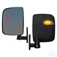 Golf Cart LED Side Mirror Set with Running/Turn Signal Lights