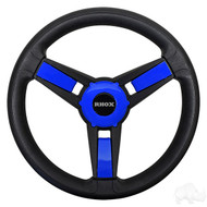 Blue/Black Golf Cart Steering Wheel with Adapter, Club Car DS 1984+