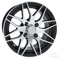 Golf Cart Wheel, 13x6 Centered, Machined Black RX177