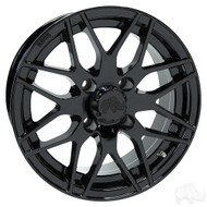 Golf Cart Wheel, 13x6 Centered, Black RX177