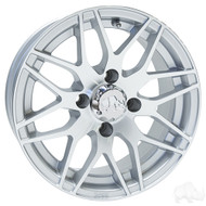 Golf Cart Wheel, 13x6 Centered, Machined Silver RX177