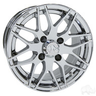 Golf Cart Wheel, 13x6 Centered, Chrome RX177
