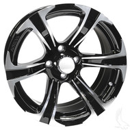 Golf Cart Wheel, 15x7 Machined Gloss Black Finish AC688