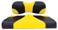 Custom Golf Cart Seat Covers, Black and Yellow, EZGO RXV, TXT 1996-2013