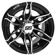 Golf Cart Wheel, 10x7 Machined Black RX376