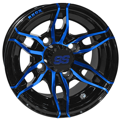 Golf Cart Wheel, 10x7 Gloss Black with Blue RX376
