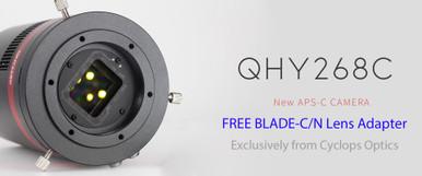QHY268C with FREE Cyclops Optics BLADE-C/N Camera Lens Adapter