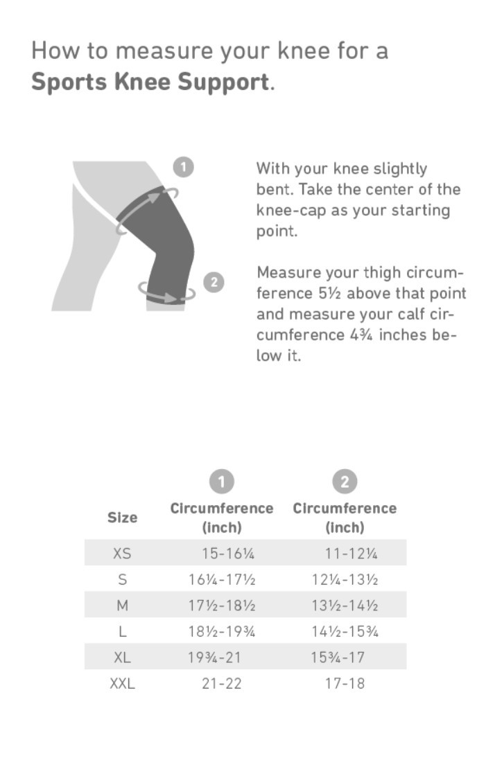 Bauerfeind Knee Support Sizing Chart