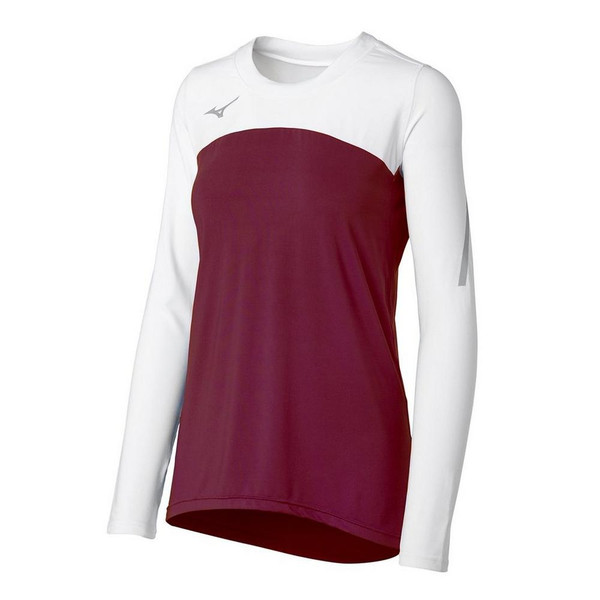 Mizuno Women's Techno Volley VII Long Sleeve Jersey- Cardinal/White