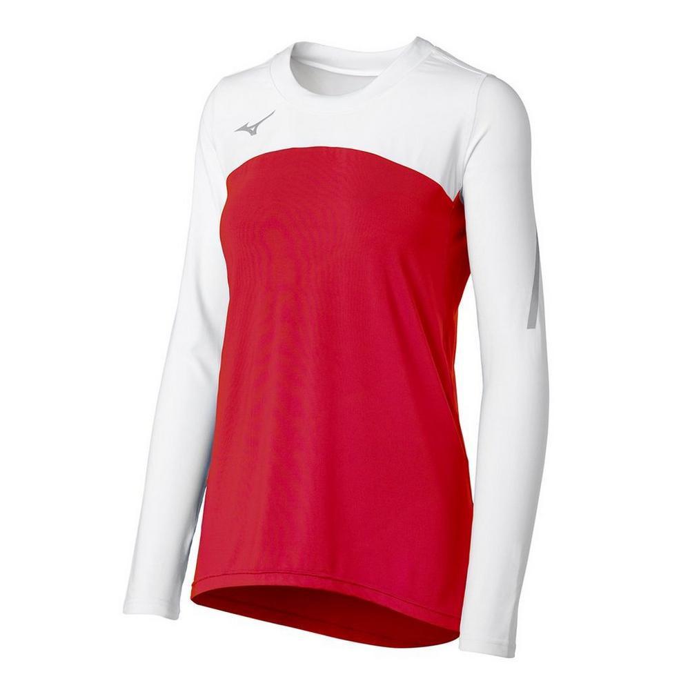Mizuno Women's Techno Volley VII Long Sleeve Jersey- Red/White