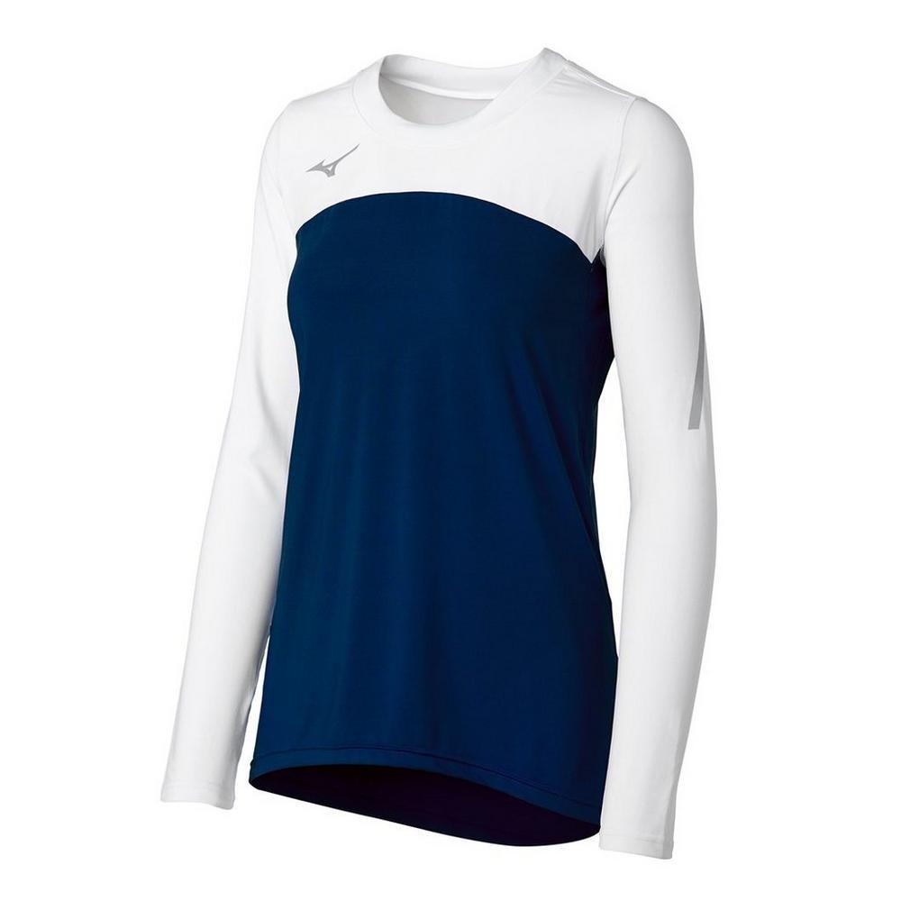 Mizuno Women's Techno Volley VII Long Sleeve Jersey- Navy/White