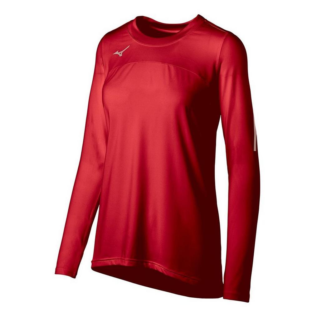 Mizuno Women's Techno Volley VII Long Sleeve Jersey- Red