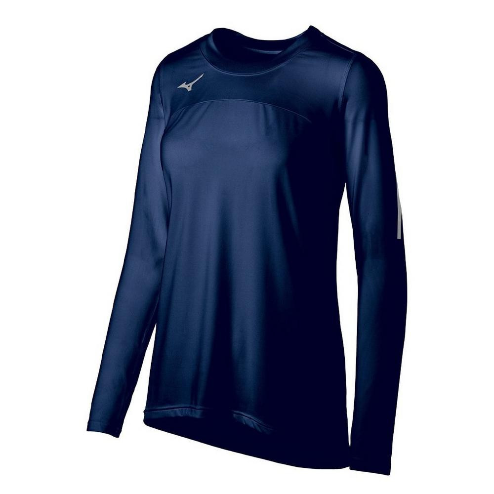 Mizuno Women's Techno Volley VII Long Sleeve Jersey- Navy