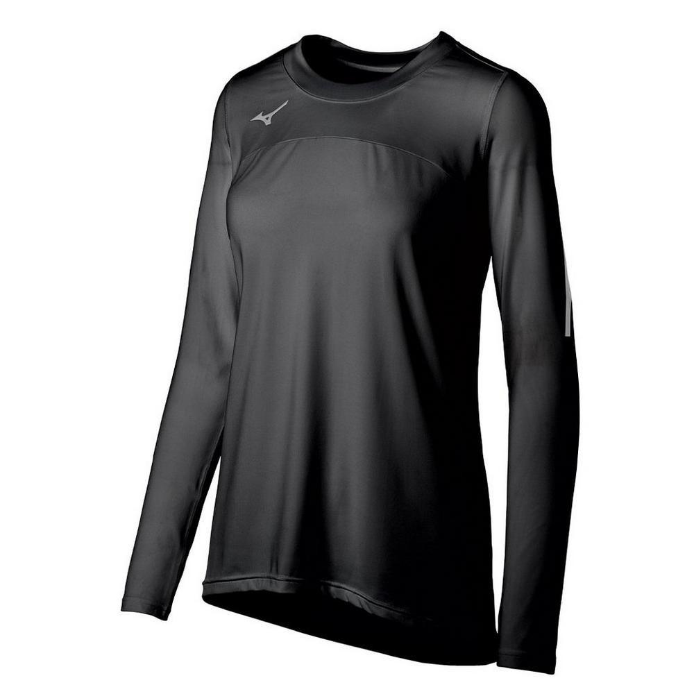 Mizuno Women's Techno Volley VII Long Sleeve Jersey- Black
