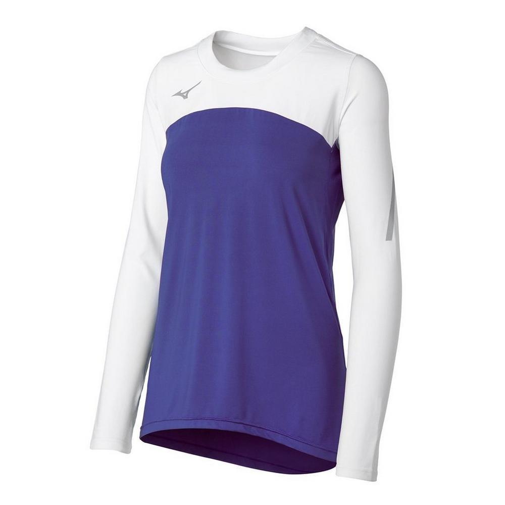 Mizuno Women's Techno Volley VII Long Sleeve Jersey- Purple/White