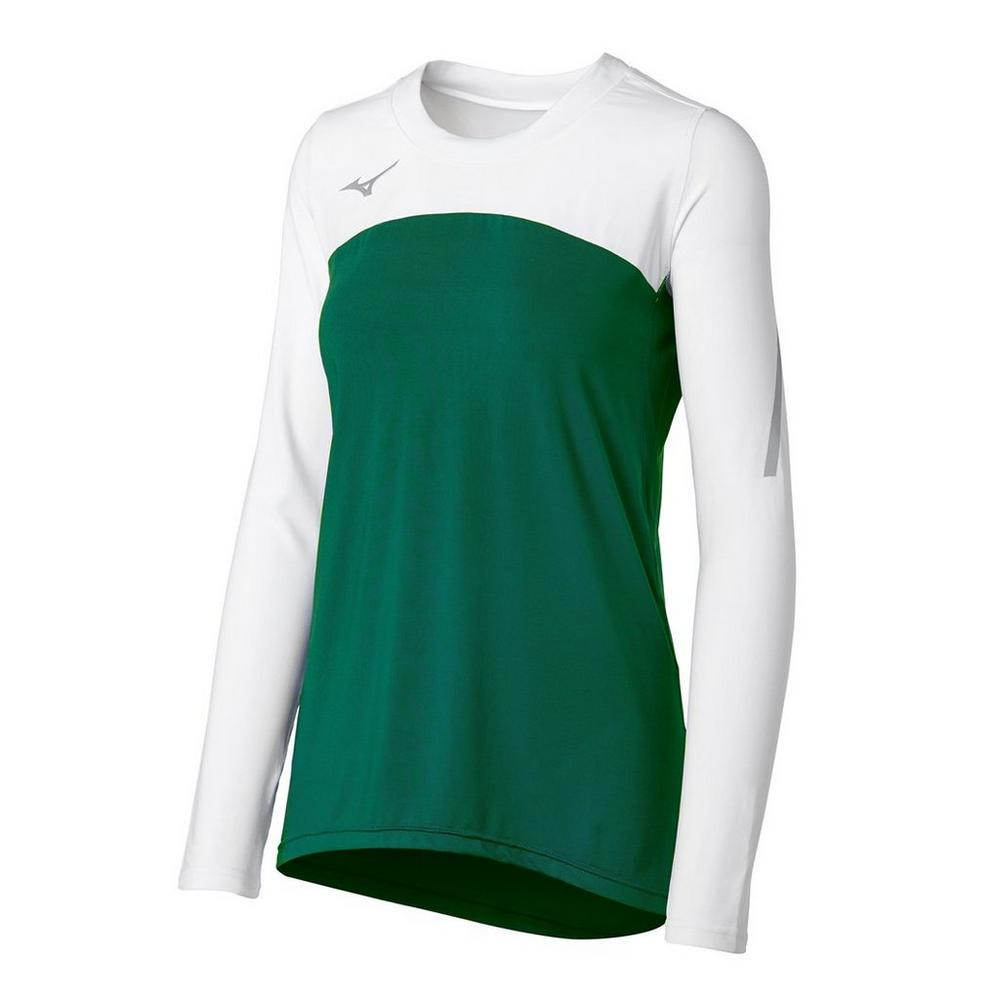 Mizuno Women's Techno Volley VII Long Sleeve Jersey- Forest/White
