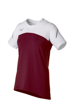 Mizuno Women's Techno Volley VII Short Sleeve Jersey- Cardinal/White