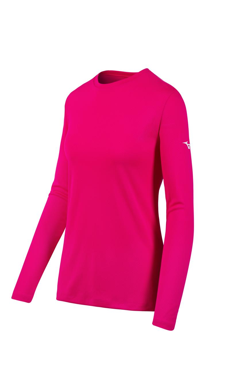 Women's Mizuno LS Tee- Shocking Pink