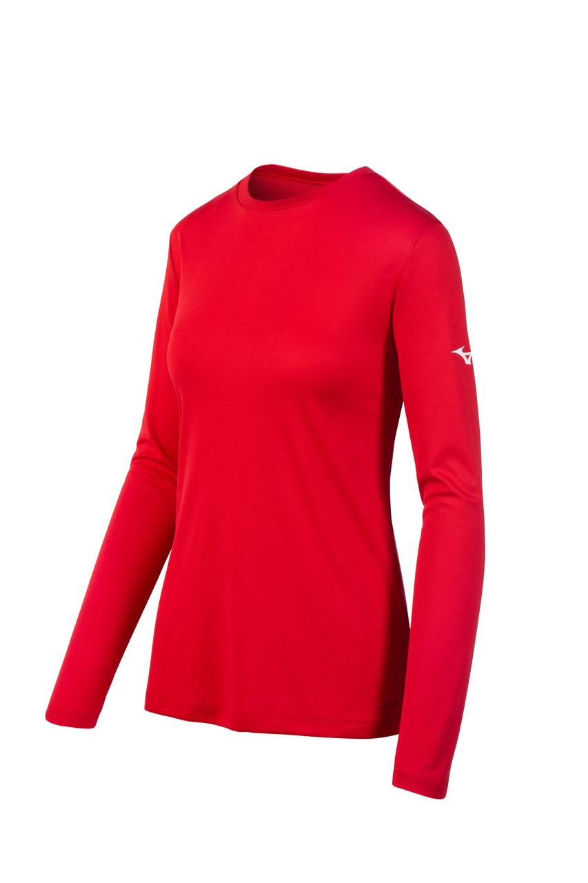 Women's Mizuno LS Tee- Red