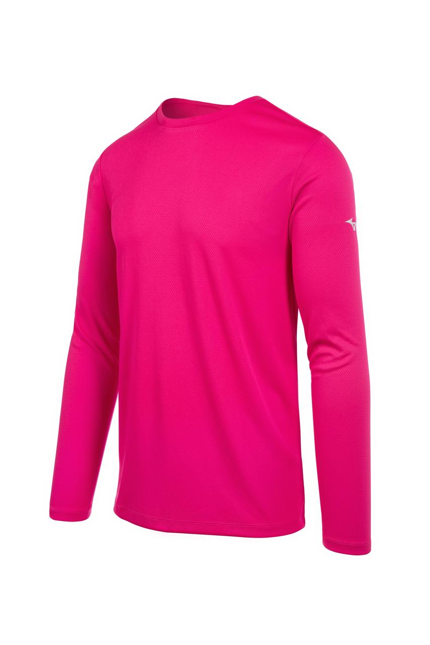 Mizuno Men's Long Sleeve Mizuno Tee- Shocking Pink