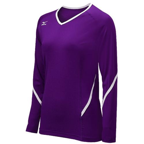 Mizuno Youth Techno Generation Long Sleeve Jersey - Purple/White