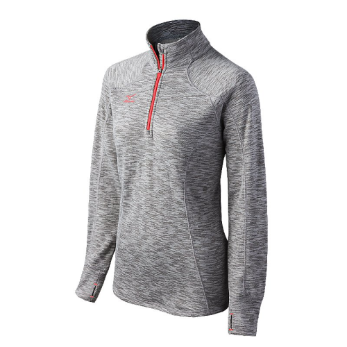 Mizuno Women's Flex 1/2 Zip Top - Heathered Grey/Blazing Orange
