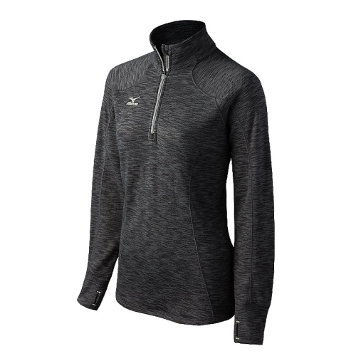 Mizuno Women's Flex 1/2 Zip Top - Heathered Black/Grey