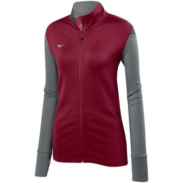 Mizuno Women's Horizon Full Zip Jacket - Cardinal/Grey/Charcoal