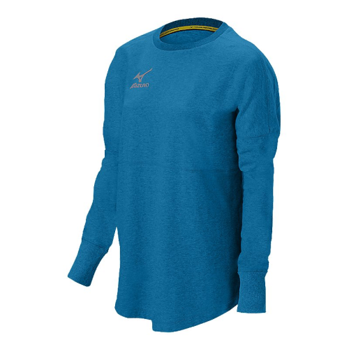 Mizuno Women's Hitter's Pullover- Heathered Diva/Columbia Blue