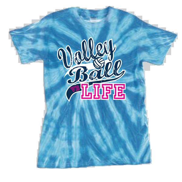 Volleyball Life Tye Dye T-Shirt - Blue