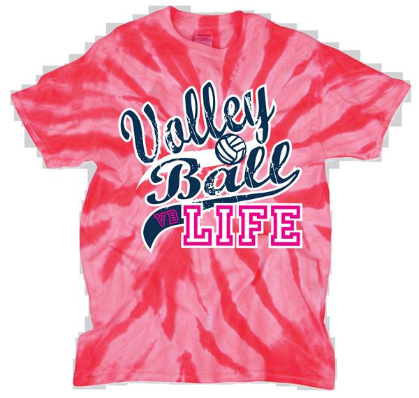 Volleyball Life Tye Dye T-Shirt - Pink