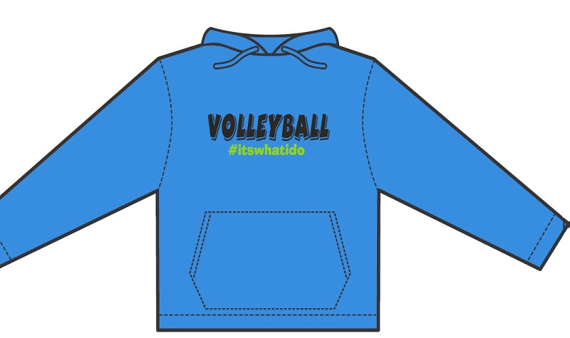 Hashtag Volleyball Hoodie- Columbia Blue