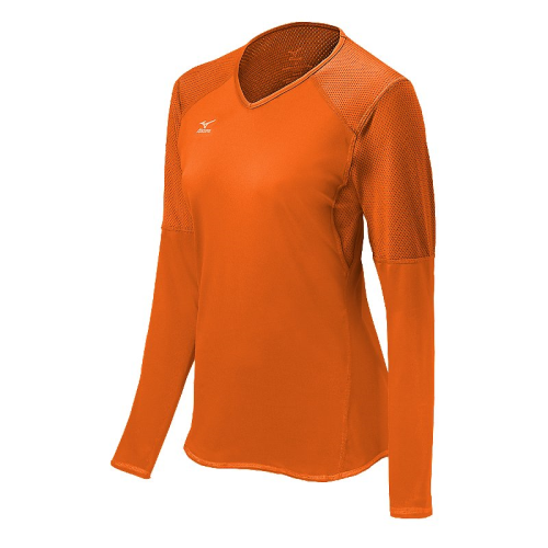 Mizuno Women's Techno Volley VI LS Jersey- Blazing Orange
