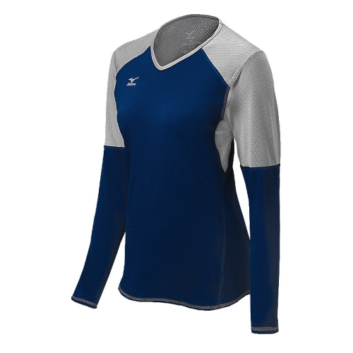 Mizuno Women's Techno Volley VI LS Jersey- Navy/Silver