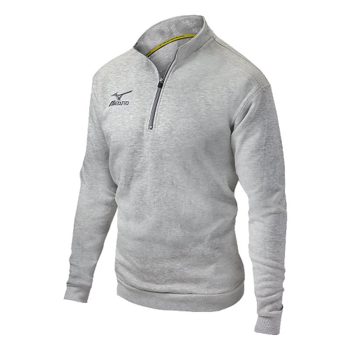 Mizuno 1/2 Zip Fleece Pullover- Heathered Light Grey