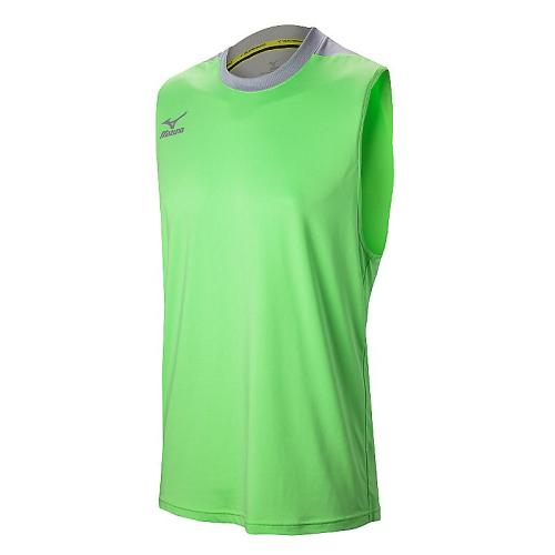 Mizuno Men's Cutoff Jersey- Heathered Electric Green/Silver