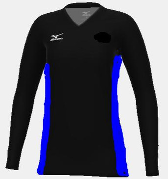 Mizuno Women's Custom LS Jersey- Black/Royal